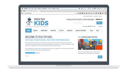 tech toy kids homepage